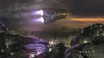 Storm halo buildings reach spaceships artwork game wallpaper