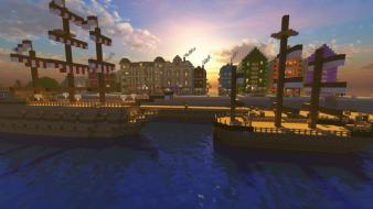 Town minecraft cities skies shaders glsl panoramic wallpaper