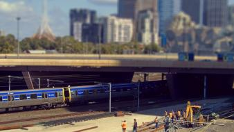 Trains tilt-shift australia railroads melbourne workers wallpaper