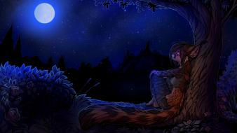 Trees night brown roses anthropomorphism furry wallpaper
