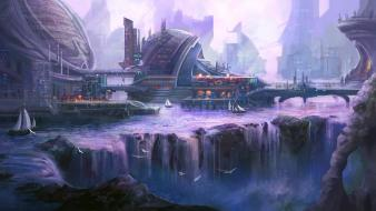 Water futuristic boats concept art artwork waterfalls cities wallpaper