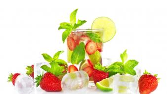 White glass fruits strawberries ice cubes wallpaper