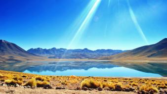 Yellow desert grass hills lagoon andes atacama wallpaper