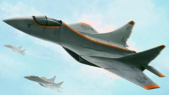 Aircraft military futuristic 3d wallpaper