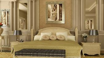 Architecture room beds pillows bedroom luxury hotel wallpaper
