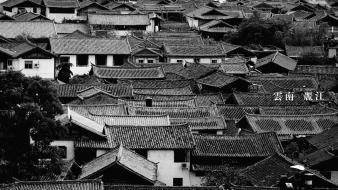 Black and white landscapes houses oriental roofs townscape wallpaper