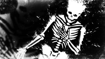 Black and white skulls scary skeletons skelett myth wallpaper