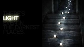 Black dark light bulbs stairs wallpaper