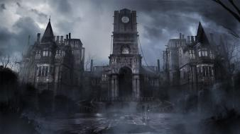 Castles dark fog mist gothic pavement thief wallpaper