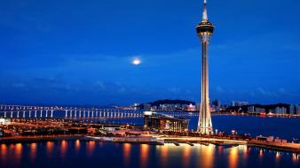 Cityscapes lights china bing macau towers wallpaper