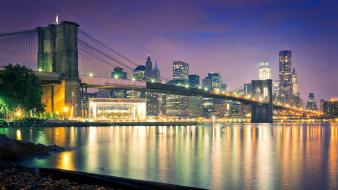 Cityscapes night lights bridges urban usa cities wallpaper