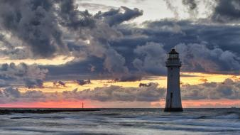 Clouds landscapes lighthouses waterscapes skies Wallpaper