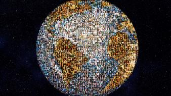 Earth people globes globe creative wallpaper