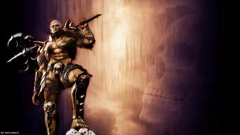 Fantasy art armor digital warriors gladiator trident wallpaper