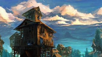Fantasy art artwork abandoned cities wooden architecture Wallpaper