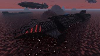Fantasy art spaceships science fiction 3d alien planet wallpaper