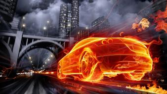 Fire buildings vehicles cities speed burning fast wallpaper