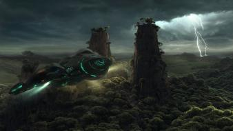 Flying storm spaceships science fiction lighting sci-fi wallpaper
