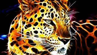 Fractalius shining glowing leopards black background fractal wallpaper
