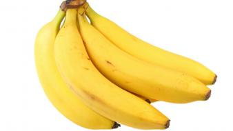 Fruits bananas white background colors strong fresh vitamins Wallpaper