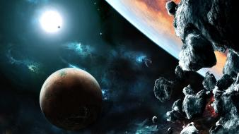 Glowing spaceships science fiction meteorite meteors sci-fi wallpaper