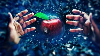 Hands digital art apples adam spizak Wallpaper