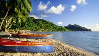 Islands boats palm trees caribbean bing beach wallpaper