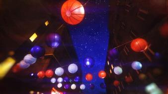 Lights japanese chinese lanterns lamps asians wallpaper