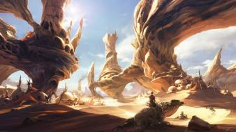 Lizards artwork homes civilization rock formations skies wallpaper