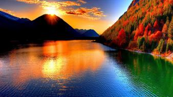 Mountains landscapes sun trees silhouettes lakes waterscapes wallpaper