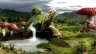 Mushrooms fantasy art digital lakes waterfalls 3d Wallpaper