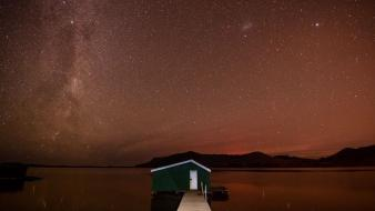 Nature night stars new zealand milky way lakes wallpaper