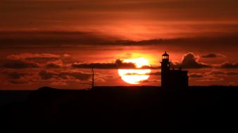 Nature sun orange silhouettes usa lighthouses oregon wallpaper