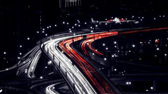 Night bridges traffic roads shanghai mt Wallpaper