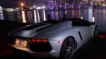 Night cars lamborghini aventador wallpaper