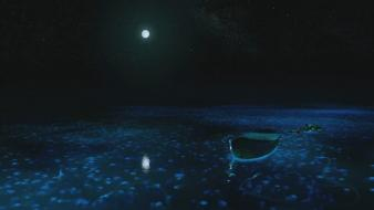 Night moon boats jellyfish Wallpaper