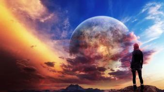 Outer space planets human sunlight artwork skies Wallpaper
