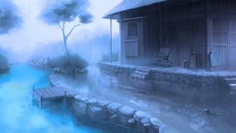 Rain houses artwork Wallpaper