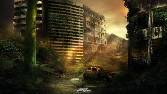 Ruins cityscapes digital art science fiction t1na sunbeams Wallpaper