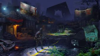 Ruins post-apocalyptic apocalypse artwork 3d cities Wallpaper