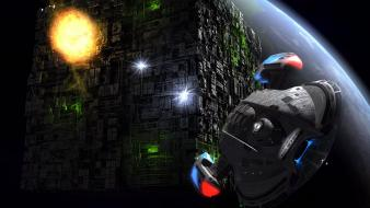 Shining spaceships battles science fiction cube sci-fi wallpaper
