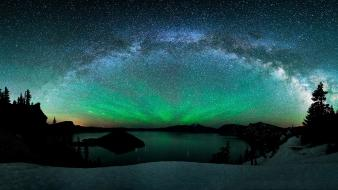 Stars aurora borealis night sky wallpaper