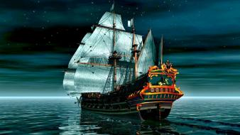 Vintage ships sail ship 3d render wallpaper