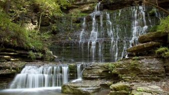 Wall rocks stones falls streams waterfalls plates wallpaper