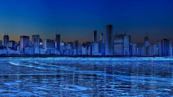Water chicago night buildings usa reflections cities wallpaper