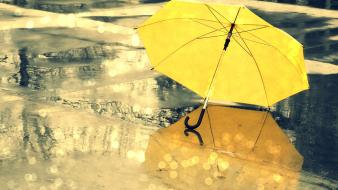 Water rain yellow umbrellas street Wallpaper