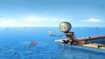 Water robot birds fish artwork drawings flooded sky wallpaper