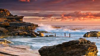 Waves rocks sydney australia sea beach wallpaper