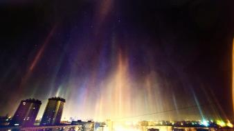Winter cityscapes lights aurora cities northern skies wallpaper