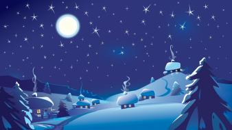 Winter night illustrations graphic art vector snowy mountains wallpaper